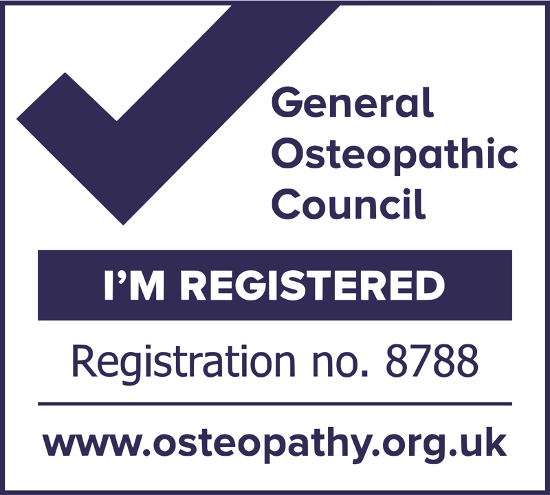 General Osteopathic Council. I'm registered. Registration no. 8788.